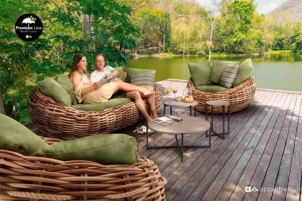 Apple Bee Geflecht Lounge Gruppe Cocoon