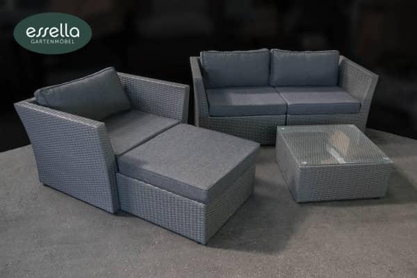 Versandrückläufer Polyrattan Lounge Venezia 4-Personen Flachgeflecht Grau