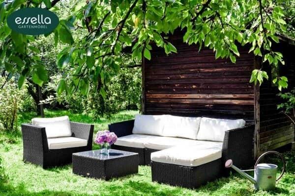 """Essella Polyrattan Lounge """"Venezia"""" : schwarz : flachgeflecht : gartenmode.de"""