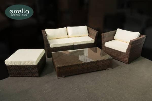 Versandrückläufer Polyrattan Lounge Venezia 4-Personen Flachgeflecht Bicolor-Braun