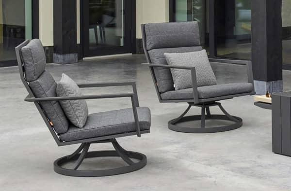 2er Set Aluminium Relax-Sessel Maroon 360 drehbar Grau-matt