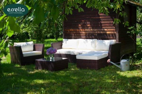 "Essella Polyrattan Lounge ""Venezia"" : bicolor-braun : flachgeflecht : gartenmode.de"