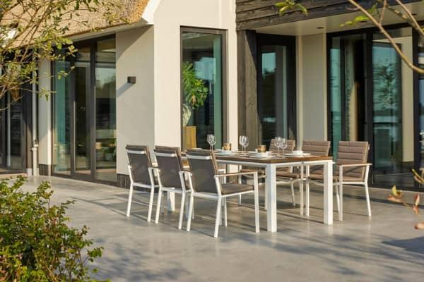 Aluminium Sitzgruppe Concept Weiß/Teak mit Primavera Stühlen