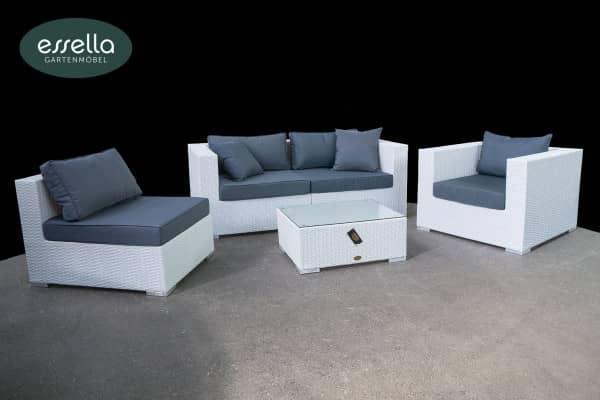 Versandrückläufer Polyrattan Lounge Miami 4-Personen Flachgeflecht Weiss