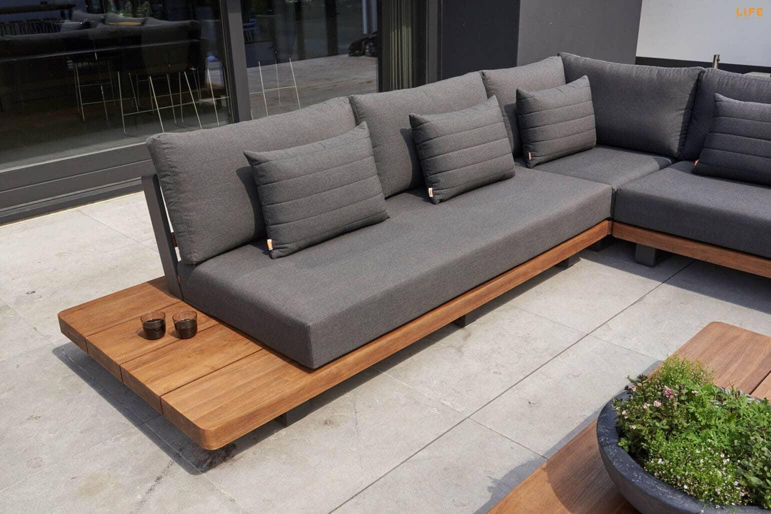 Life Teakholz Lounge Fitz Roy 5 Personen Aluminium Lava   TOO Design Gartenmöbel