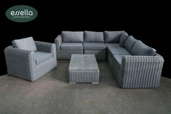 Fotomodell Polyrattan Lounge Stockholm 6-Personen Rundgeflecht grau-meliert