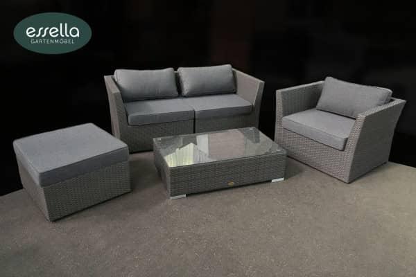 Versandrückläufer Polyrattan Lounge Venezia 4-Personen Flachgeflecht Grau großer Lounge-Tisch