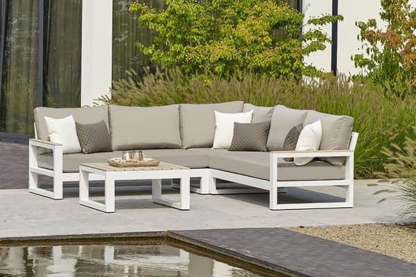 Gartenmode Aluminium Lounge Mallorca White mit Armlehnen