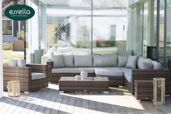 "Essella Polyrattan Lounge ""Palm Beach"" : bicolor-dunkelbraun : rundgeflecht - optik : gartenmode.de"