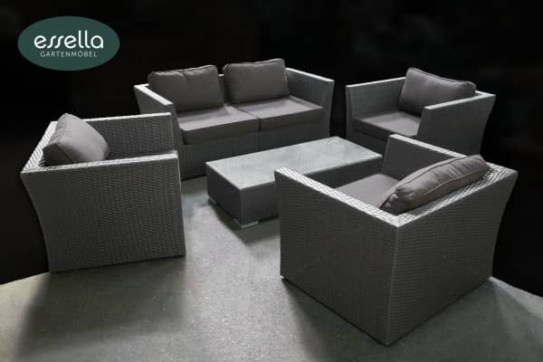 Versandrückläufer Polyrattan Lounge Venezia 5-Personen Flachgeflecht Grau