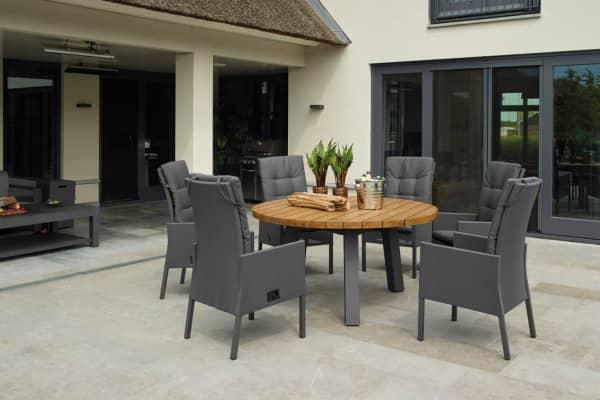 Sitzgruppe Texas Lava/Teak mit verstellbaren Caribean Stühlen