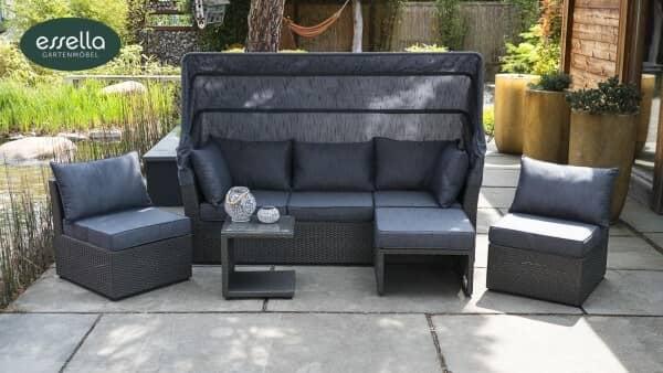 Polyrattan Sonneninsel Malibu Flachgeflecht Grau bei Gartenmode