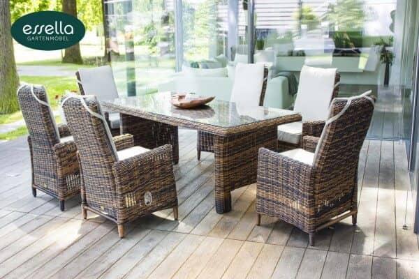 """Essella Polyrattan Tisch mit Glasplatte """"Rom"""" : bicolor-dunkelbraun : rundgeflecht : gartenmode.de"""