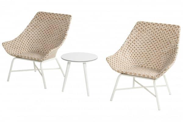 Aluminium Lounge Sessel Delphine Honig mit Tisch bei Gartenmode