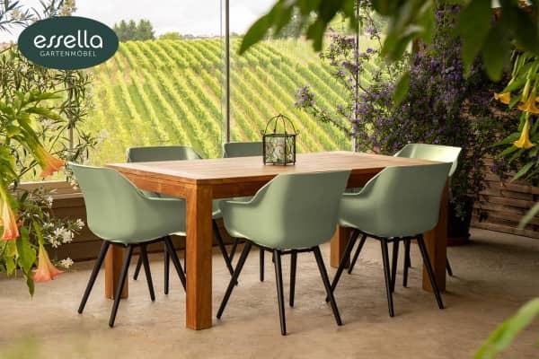 Teakholz Tisch 180 mit Hartman Sophie Studio Stühlen